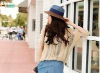 1 piece  top salling cool style Women Foldable Wide Large Brim Floppy Summer Beach Sun Straw Hat Cap 2 colour