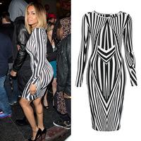 winter autumn dress European Style Sex black white striped dress stitching irregular club party cocktail evening dresses