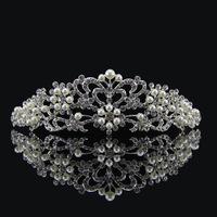 2014 New arrival wedding hair jewelry clear crystal tiara Vintage pearl flower crown bridal hair accessories XB35