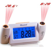 led alarm clock with projector double super dimensional projection luminous mute desktop clock calendar thermometer 21