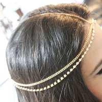 New 1pc Bohemia Style Pretty Rhinestone Studded Head Chain Headband Headpiece