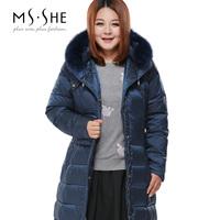 Msshe plus size clothing 2014 medium-long thickening down coat female 6811