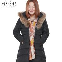 Msshe plus size clothing 2014 medium-long thermal down coat high quality fashion 5196