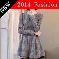 2014 new fashion grey long sleeve casual dress tropical party women winter dresses desigual bodycon vintage vestido 1108LX