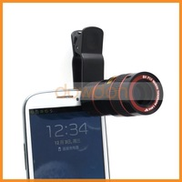 Universal 8X Zoom Mobile Phone Telescope Lens with Clip for Samsung S3 S4 S5 Note 2 3 iphone 4 4S 5 5S 5C 6 plus Fish Eye Lens