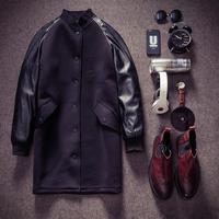 Original fashion design MEN High-grade leather sleeve neoprene jacket structured long jackets coats HOT SALE N50086