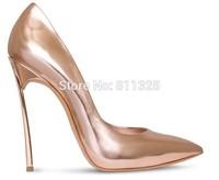 2014 Kim Kardashian Metal Blade High Heels genuine Leather sexy Pointed-Toe Pumps Women Brand wedding Shoes,original package box