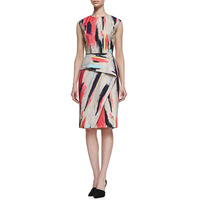 Free Shipping New Arrival Charming Colorful Stripped Printed Pencil Dress 141210W11
