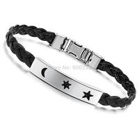 Free Shipping Big Promotion Stainless Steel Bracelet Buckle Black Brown Belt Moon Sun Star Friendship Leather Bracelets Bangles