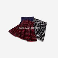 2015 Spring 1950S Vintage Hepburn Classic England Style Scottish Tartan Check High Waist Knitting Mini Skirt Blue Red White