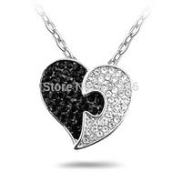 Black and White Genuine stones Heart Pendant Necklace
