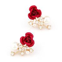 New Fashion Crystal Pearl Rose Flower Earrings Sweet Stud Earrings For Women