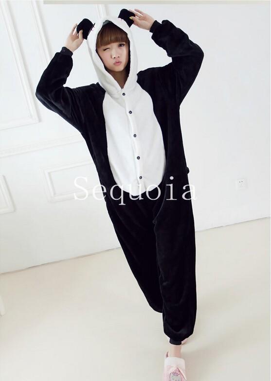 christmas Hooded adult animal panda pajamas for Women Autumn & Winter 2014 Warm Cotton Fleece Onesie Pyjama Pijamas D1755B(China (Mainland))