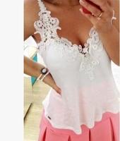 2014 Hot selling Lace chiffon Sleeveless Sweet Sexy Tank tops Shirt Blouse Tops Women's Summer fashion