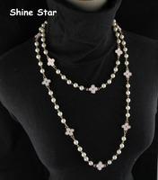 Fashion Elegant 136CM Faux Pearl Chain Statement Enamel Clover Sweater Long Chain Necklace Women Pendant Jewelry Item,C80