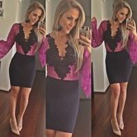New vestido de festa 2014 Hot Selling Celebrity Lace Crochet Short Pencil Dresses Sexy V-neck Women Bodycon Slim Hip Club Dress