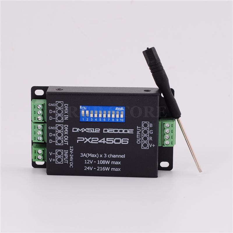 RGB контролер DMX PX24506 DMX 512 9A DMX 512 12V 108W 24V RGB