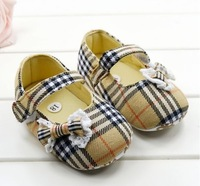 2014 khaki/pink classical plaid baby shoes soft soled toddler non-slip pre-walker toddler footwear kids shoes 0-18M