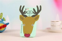 Wholesale factory lovely cartoon cases elk style silicone Cover case for iphone 5 5S 5G wapiti protective skins 4 colors
