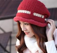 New Arrival Drop Shipping 2015  Winter Cheap Ladies Hats Homies Knitting Wool Belt Flat Top  Warmer Women Skullies Beanies