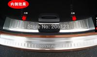 2 pcs Upper + lower Car Styling Rear Bumper Inside Door Sill Plate Scuff For Nissan X-Trail 2014 -2016 Stainless steel 304