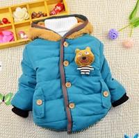 1-5Y 2014 winter little boys warm solid color cotton-padded jacket coat imitated fur fleece liner X14058