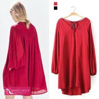 2015 Women Lantern Sleeves Back Fold Cotton Loose Casual Blouse T-Shirt Hi-LO Dress Fashion Red New Arrivals Dresses
