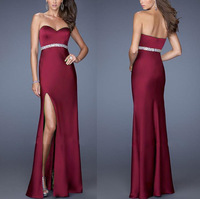 Free Shipping A Line Strapless Floor Length Beaded Long Evening Dress/Prom Gowns/Party Dress/Homecoming Dresses