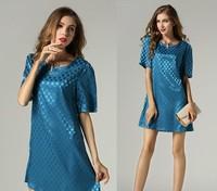 2015 new summer fashion women silm A line short sleeve O neck dot printing casual dress party dress women clothing blue M-4XL