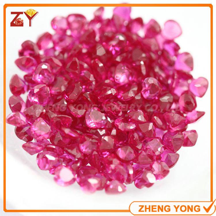 7*7mm Heart Cut Synthetic Ruby Red Corundum Gemstone Beads China(China (Mainland))