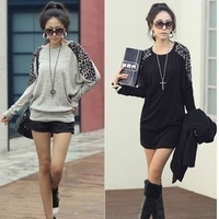 Korean fashion Leopard Patchwork sleeve design loose bottoming long design shirt d3235297 AN