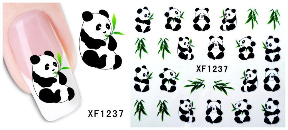 xf1237 1pcs moda nail art água transferir design unhas adesivos / decalque