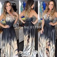 vestidos 2014 women long maxi dress print prom dress vestido de festa evening dress frozen mulheres se vestem casual dress