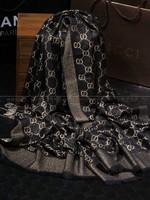 2014 gold and silver metallic yarn silk wool cashmere scarf woman shawl winter scarf female shawl large brand scarf