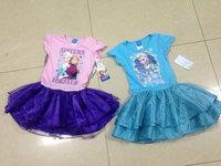 2014 New Summer Children's Cartoon Clothing Princess dresses Girls frozen dress Kids Elsa's & Anna's dresses Baby Printed Dress
