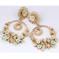 2014 Gothic Style Statement Earrings For Women Gold Plated Alloy Drop Earrings Flowers Tassel Long Earrings Christmas Gift