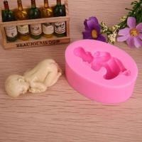 3D Soft Silicone Fondant Decorating Sleeping Baby Shape Soap Cake Baking Mold DGM2001