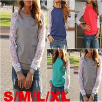 Lanluu New Spring Fashion Womens T-shirts Stitch Lace Sleeve Tops Female Blouse Shirts SQ1088