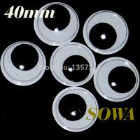 Free shipping big size 40mm 100pcs/bag Black And White Oval Design Imitate Animal Eye Dolls Eye For Toy DIY Free Shipping
