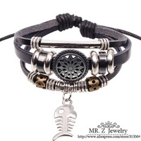 New Products Fishbone Accessories Hollow Out Sunflower Leather Bracelets 12pcs/lot Free Shipping