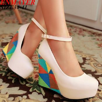 Enmayer новый 2015 прибытия мода сексуальные клинья высокие каблуки женщин туфли ...