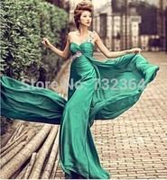 Free ship ladies women  green one shoulder rhinestone beading evening dress long dress