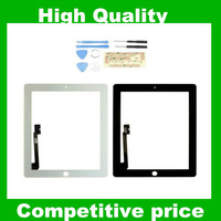 Free Shipping 1 set/lot Touch Screen Digitizer Panel With 3M Adhsive Black or White Color  For ipad 4
