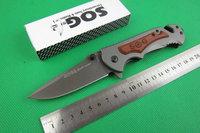 NEW SOG Wood handle Pocket FA05 Folding Knife Tactical hunting camping knife knives Christmas Gift TFF142