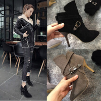 Botas Femininas 2015 High Heel Ankle Boots Vintage Style Pumps Sexy Party Shoes Black Nubuck Leather Female Pointed Heels Boots