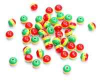 100pcs/lot 10mm DIY charm Jamaica reggae rasta three colors red yellow green resin zebra stripe spacer loose bead