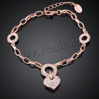 Free shipping!!! Jewelry Bracelet,2014 new fashion, Zinc Alloy, with 2lnch extender chain, Heart, real rose gold plated
