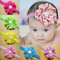 Elastic Lace Messy Flower Headbands Baby Girls Flower Headband Hair Accessories Baby Kids Flower Hairband10cs/lot