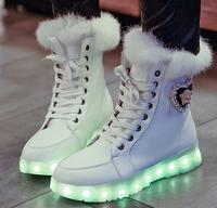 Thicken Women Platform Boots Winter Casual LED Light Snow Boots Brand European Luminous Shoes EU Size 40 Leather Ankle Shoes.