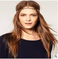 2014 Celeb Bohemia Women Crown Hair Head Chain Gold Sequins Headband Hairband Headpiece Hari Accessory Accessories 6pcs/per Lot